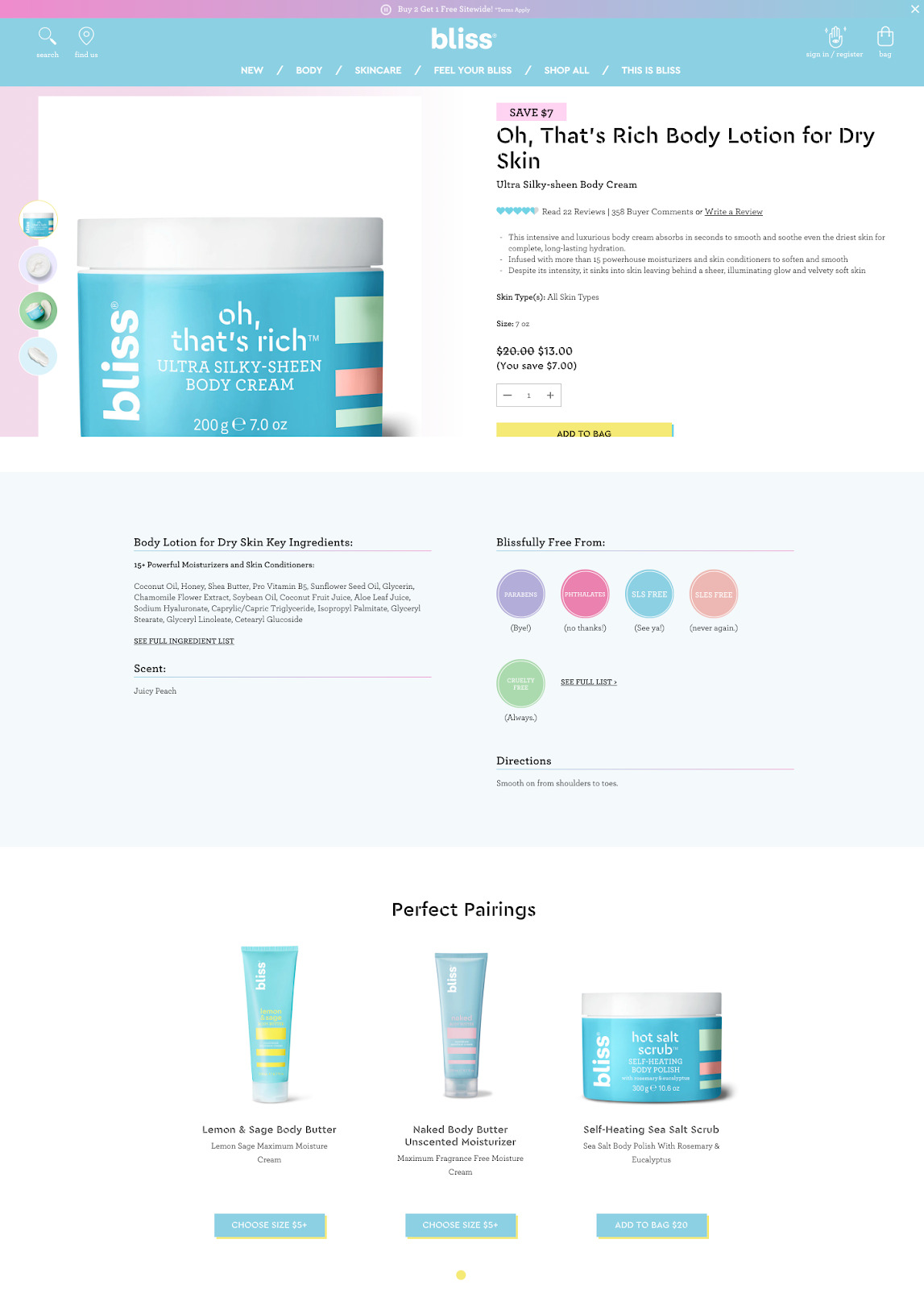 Bliss product page example