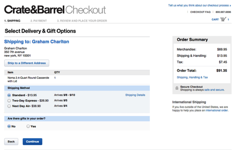 Crate & Barrel Checkout