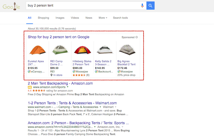 Google Shopping - 2 Person Tent