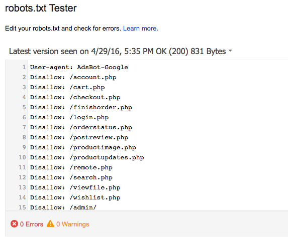 Robots.txt File in GSC