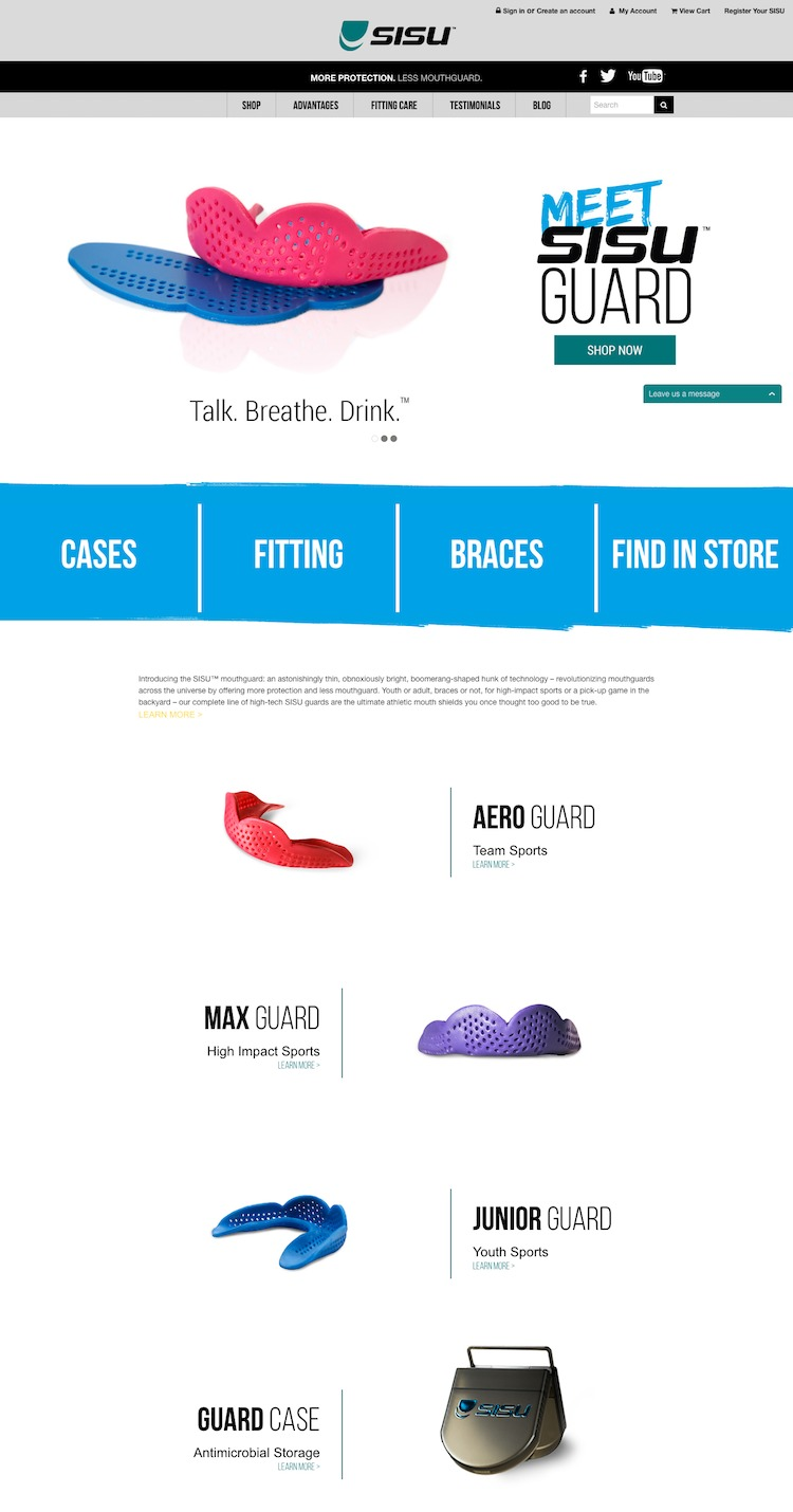 SISU Sports Mouth Guard website design