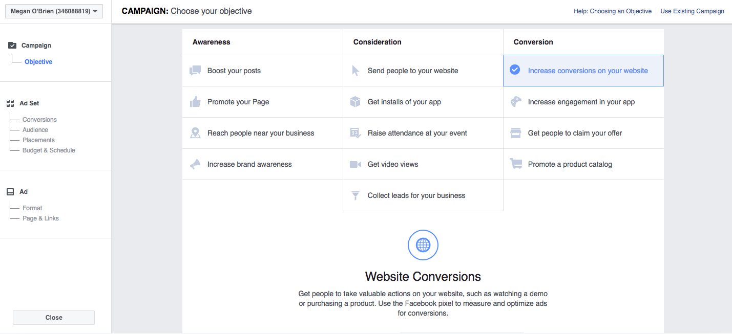 types of Facebook ad campaigns