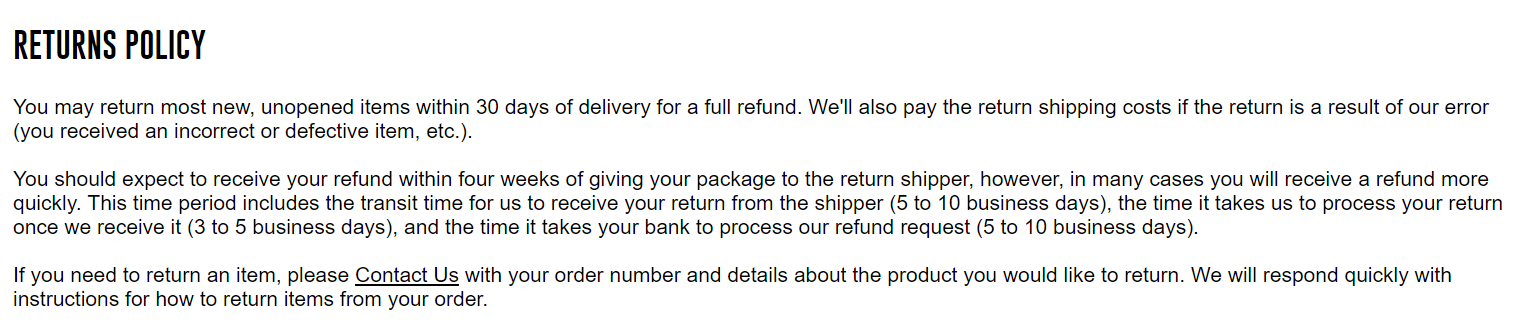 How to write an ecommerce return policy template and examples if they beat their four week refund timeline customers would be much happier than if they originally expected to get a refund in a week spiritdancerdesigns Choice Image