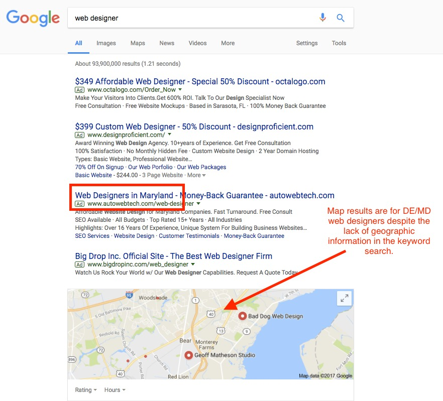 b49b6ec2cc1 Even when we're not searching specifically for a service provider near us  or for a product at the local Macy's, search engines will still share  relevant, ...