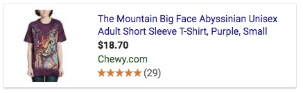 Google Shopping example ad product title