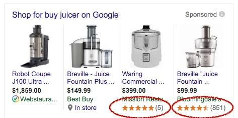 Google Shopping review extensions