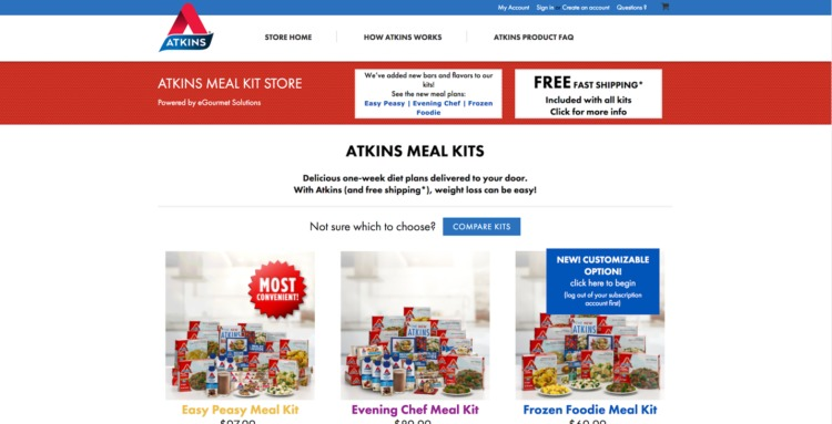 Ecommerce Food and Beverage atkins