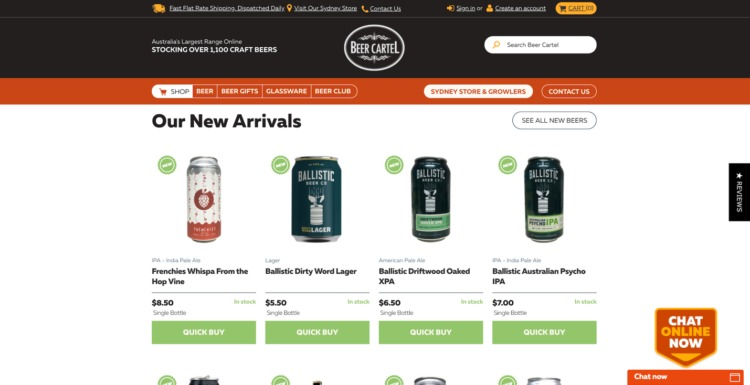 Ecommerce Food and Beverage beer cartel