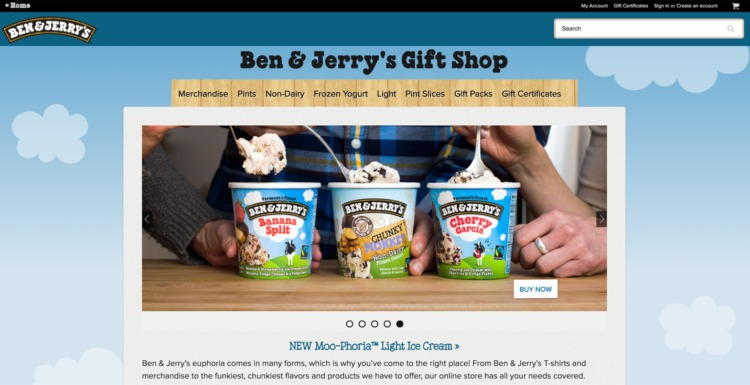 Ecommerce Food and Beverage ben and jerrys