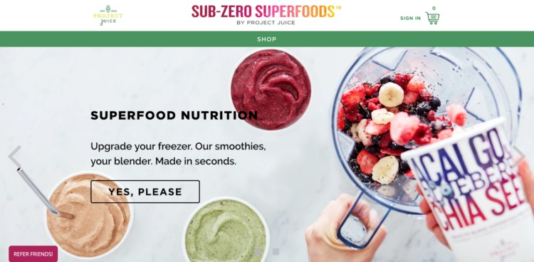 Ecommerce Food and Beverage sub zero superfoods