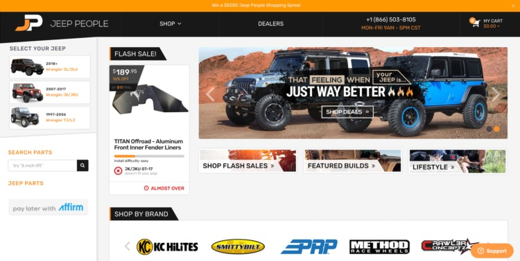 automative ecommerce design JeepPeople
