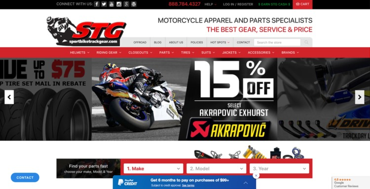 automative ecommerce design sportbike track gear
