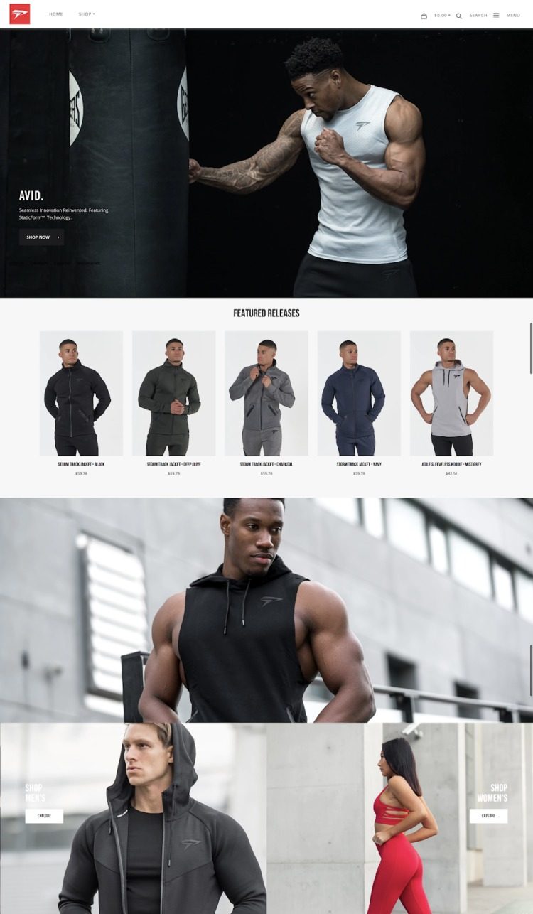 ecommerce design awards Physiq Apparel