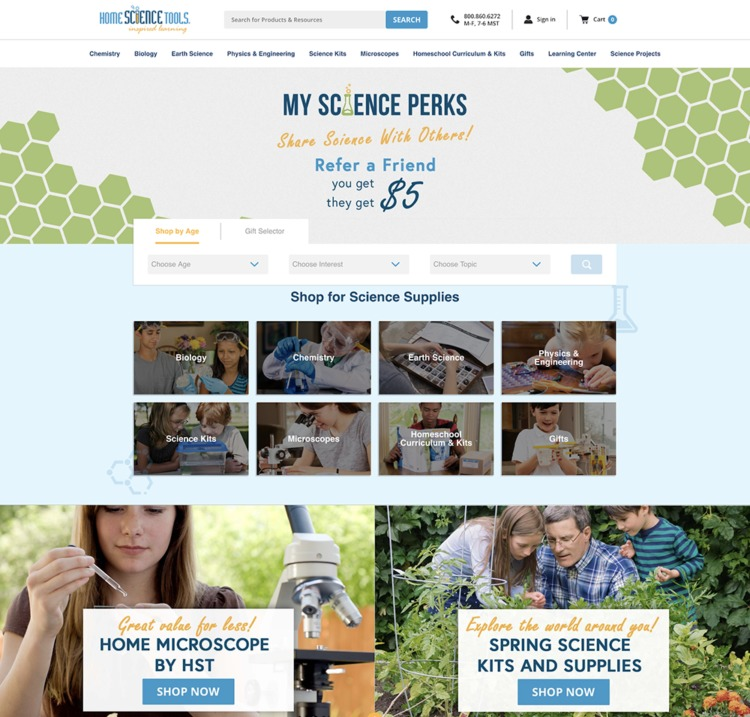 ecommerce design awards home science tools