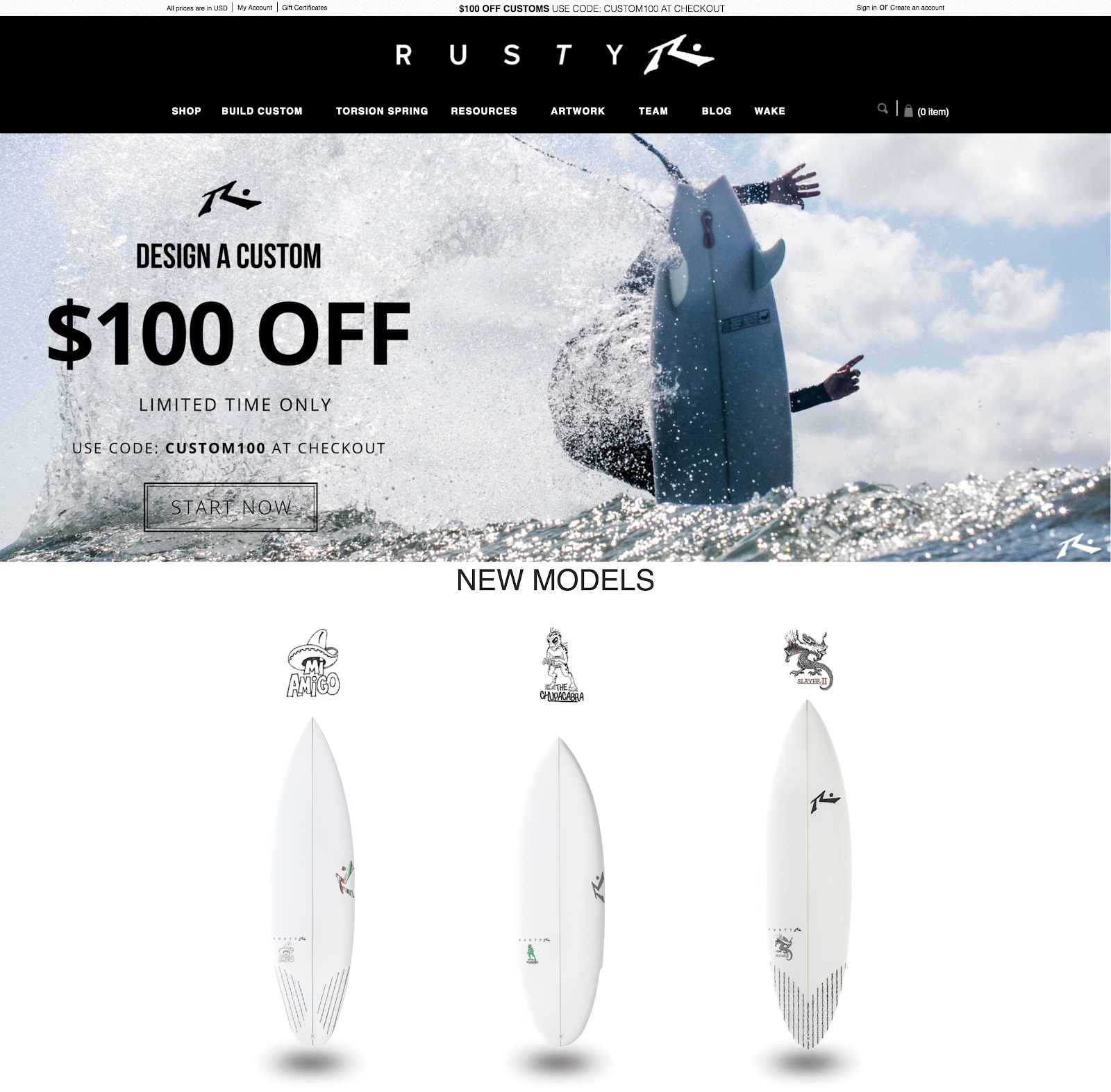 ecommerce design awards rusty surfboards