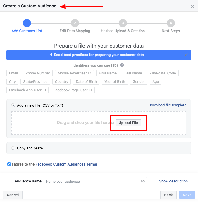 facebook create a custom audience