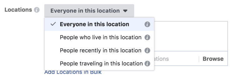 facebook location targeting