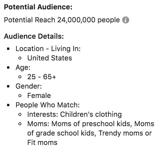 facebook potential audiences