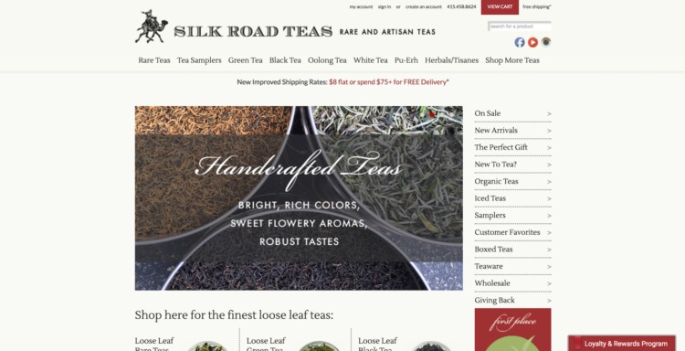 Ecommerce Food and Beverage silk road teas