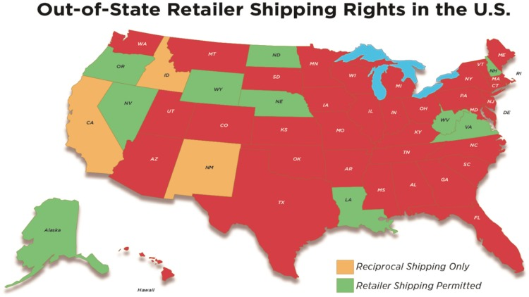wine ecommerce Out of State retailer shipping rights