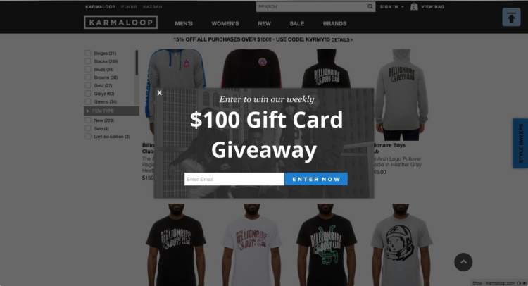 Ecommerce Personalization giveaways
