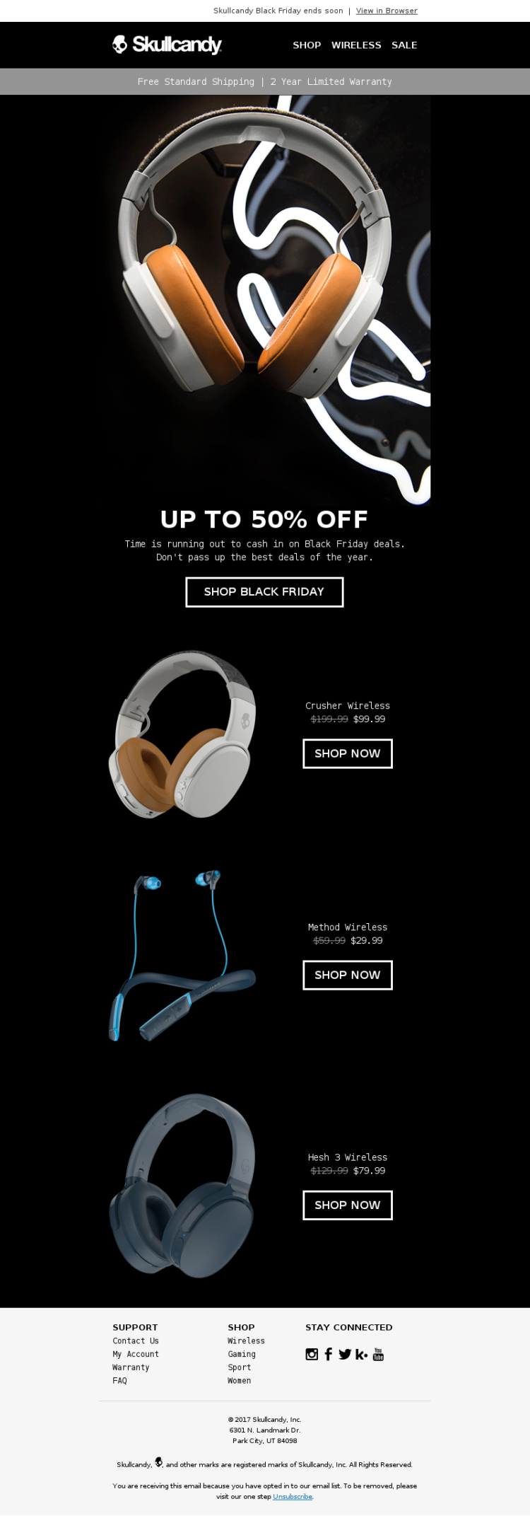 Holiday Email Marketing Skullcandy Black Friday
