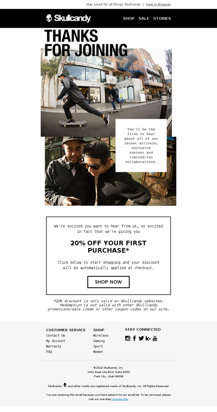 Skullcandy-Welcome-Email
