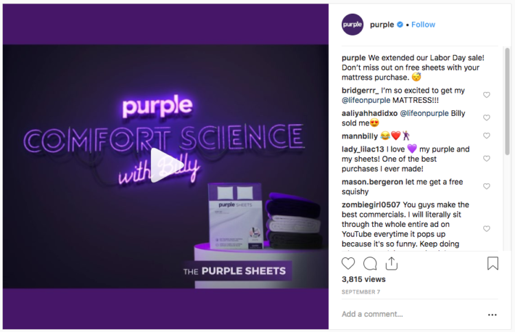 instagram marketing purple post