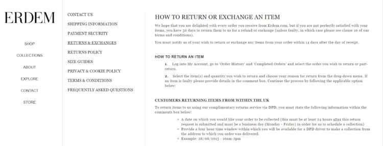 returns and exchanges policy erdem