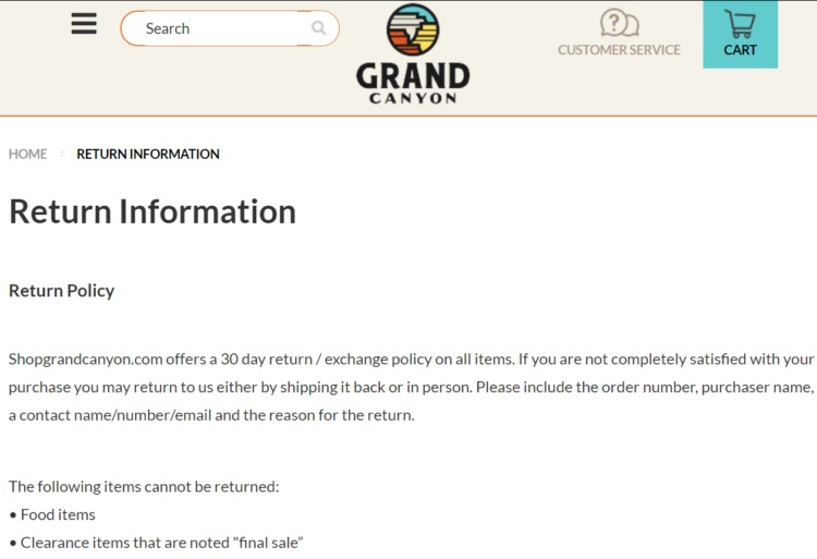 returns and exchanges policy grand canyon