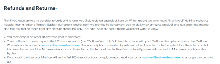 returns and exchanges policy hyphen mattress