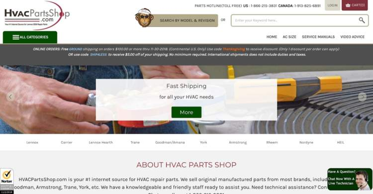 innovative ecommerce brands hvac parts shop