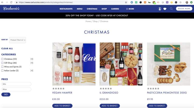 Headless Commerce Carluccios category page