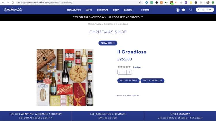 Headless Commerce Carluccios product page