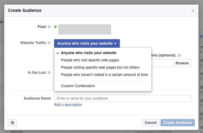bigcommerce facebook remarketing traffic menu