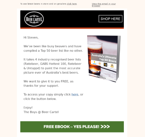beer cartel email examples