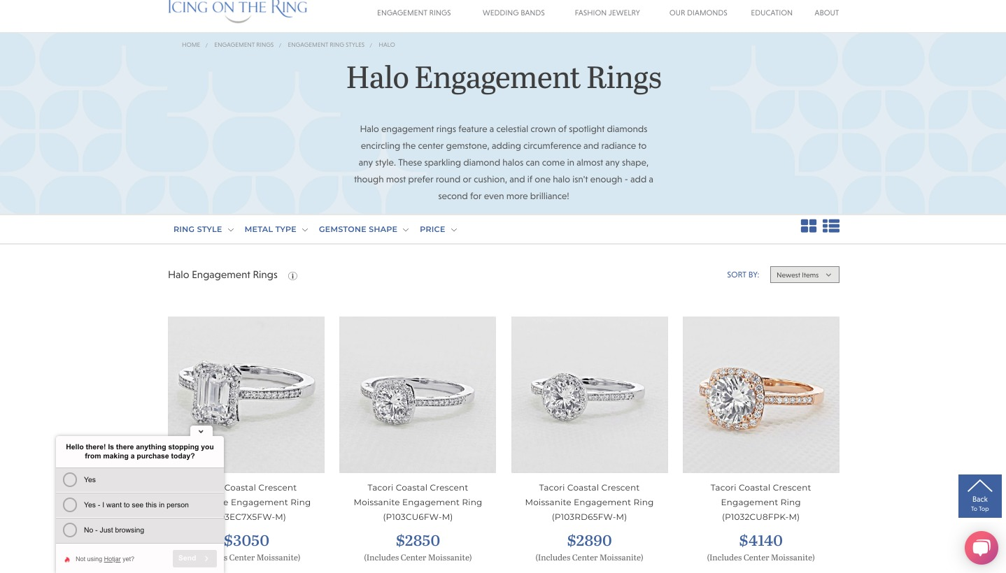jewelry online icing on the ring halo