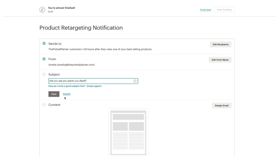 product retargeting email example