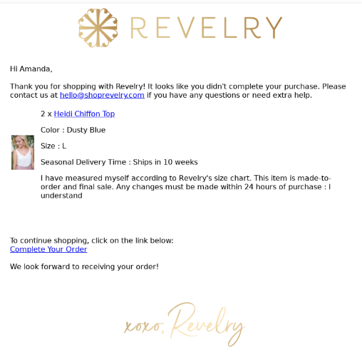 revelry email example