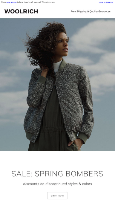woolrich email example