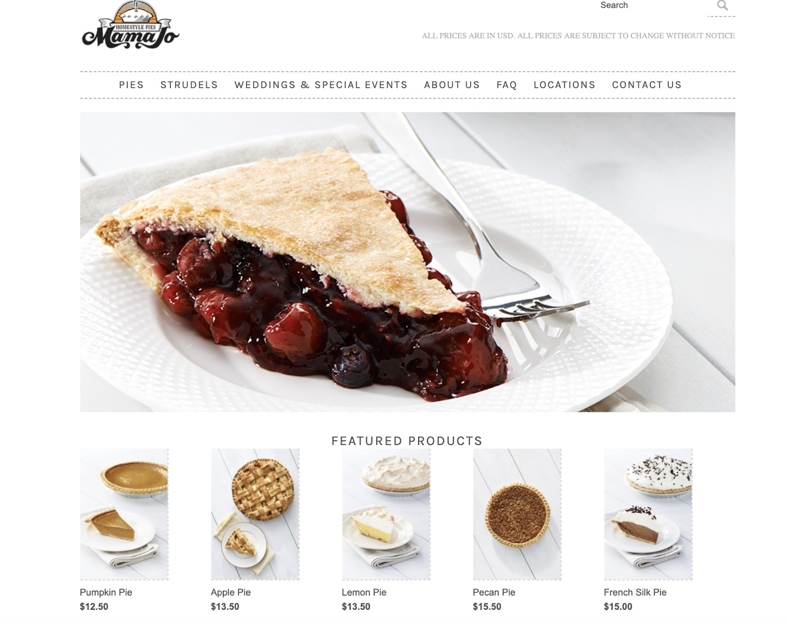 Mama Jo Homestyle Pies store example
