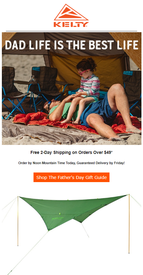 kelty email campaign example