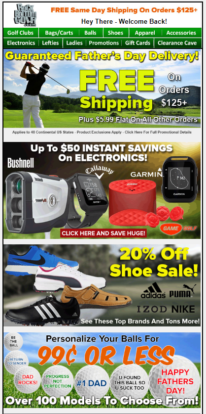 rock bottom golf email campaign example
