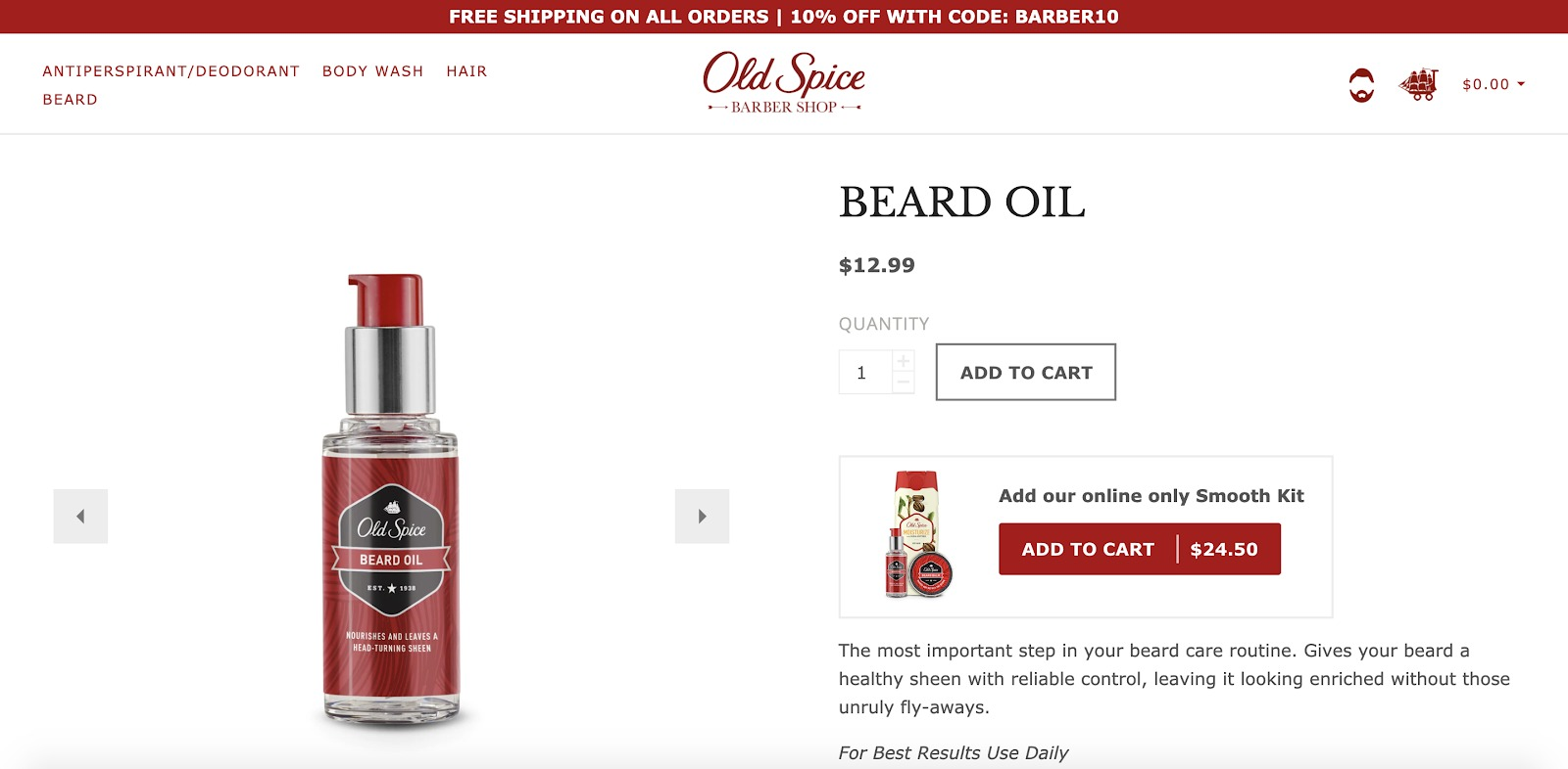 Old Spice Beard Oil Store Example