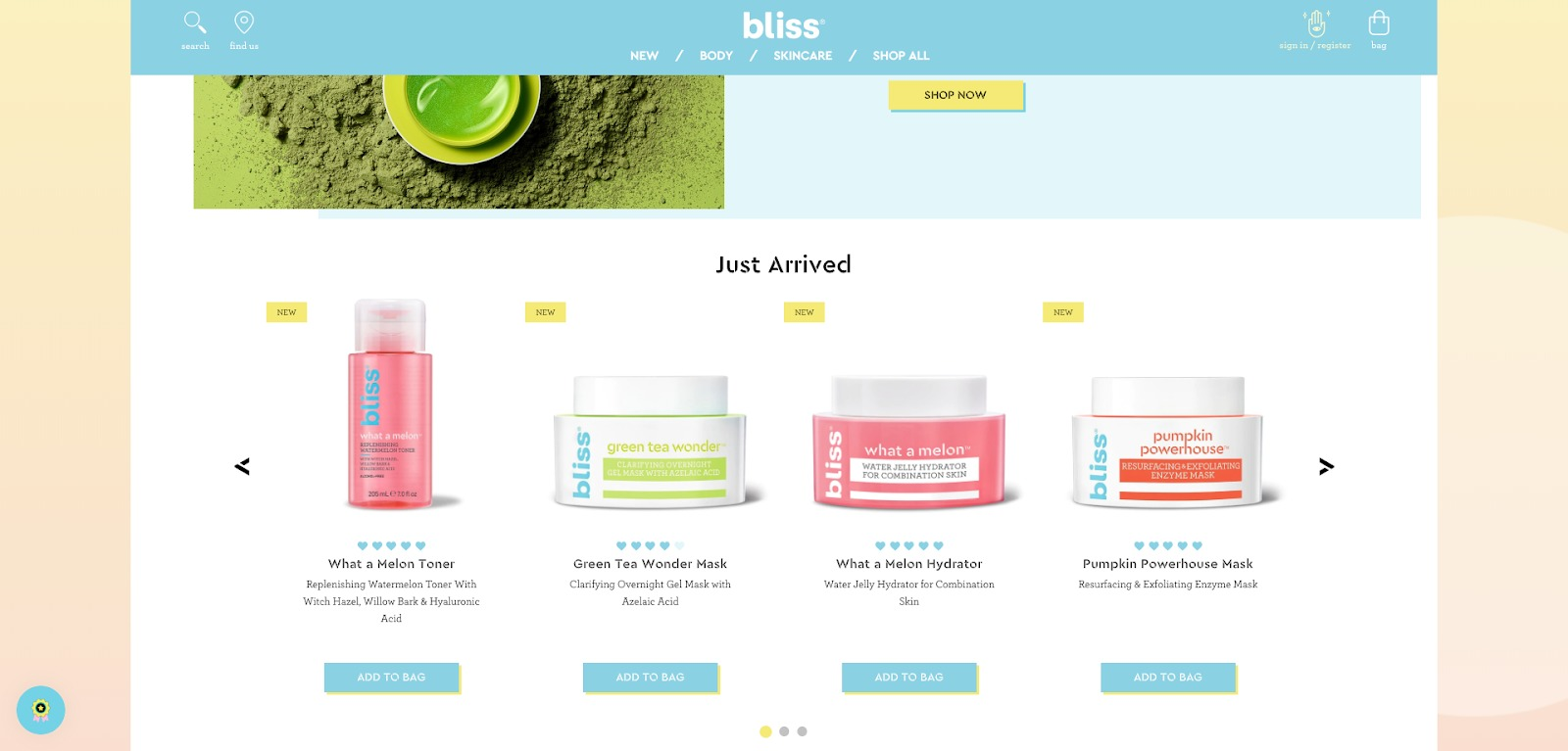 Bliss homepage