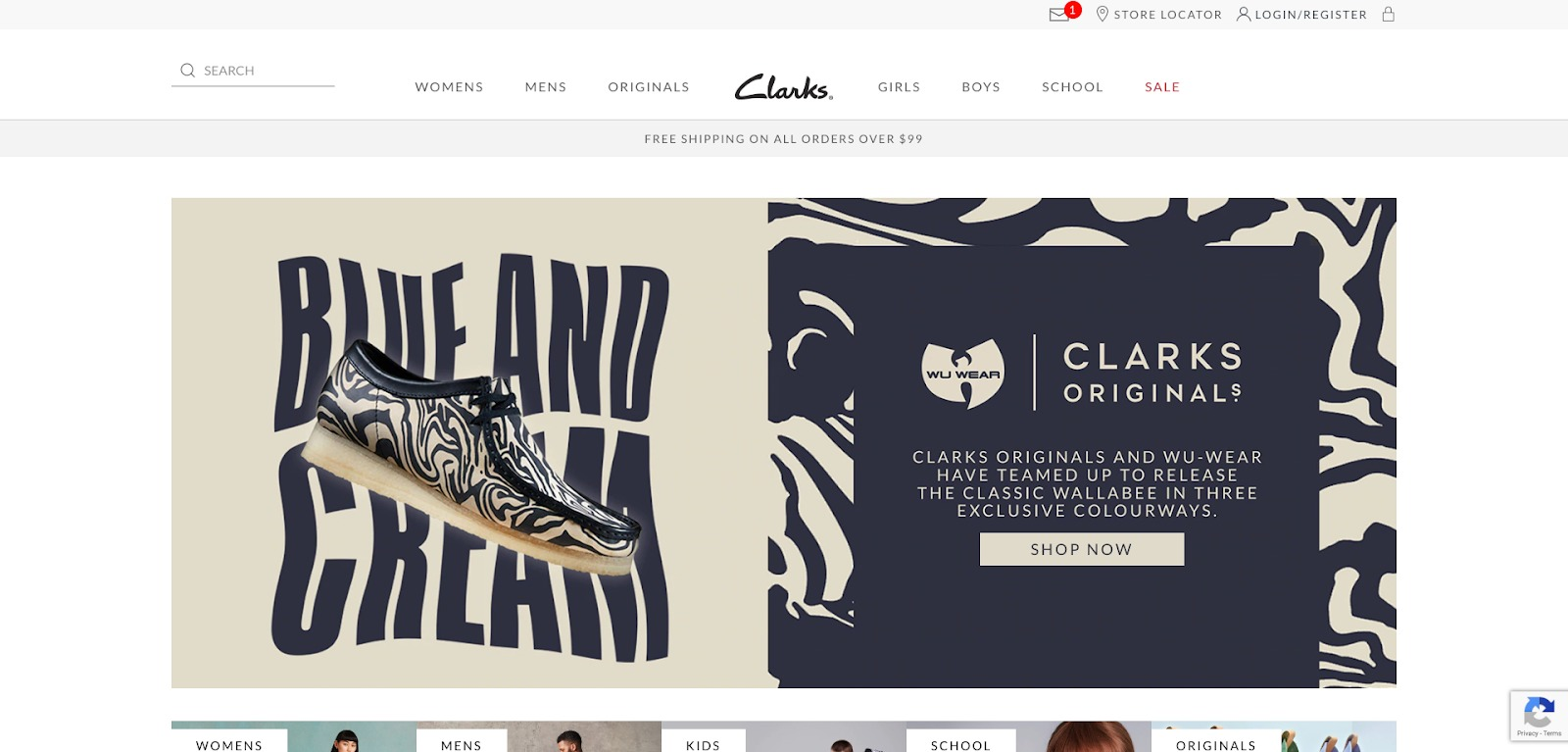Clarks homepage