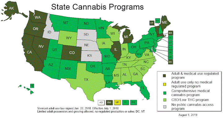 US by state cannabis programs