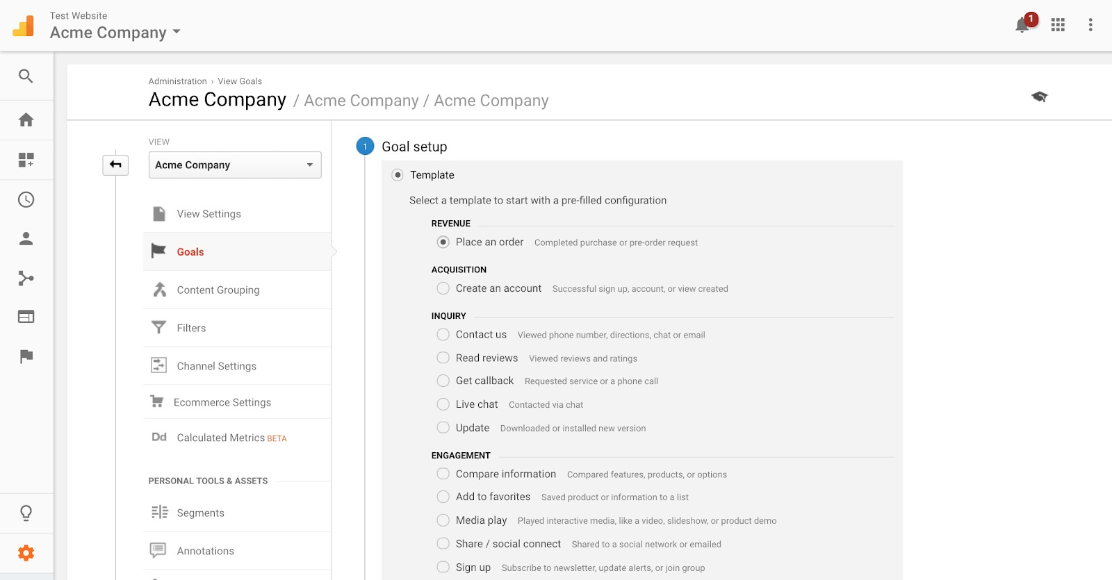 acme company google analytics example