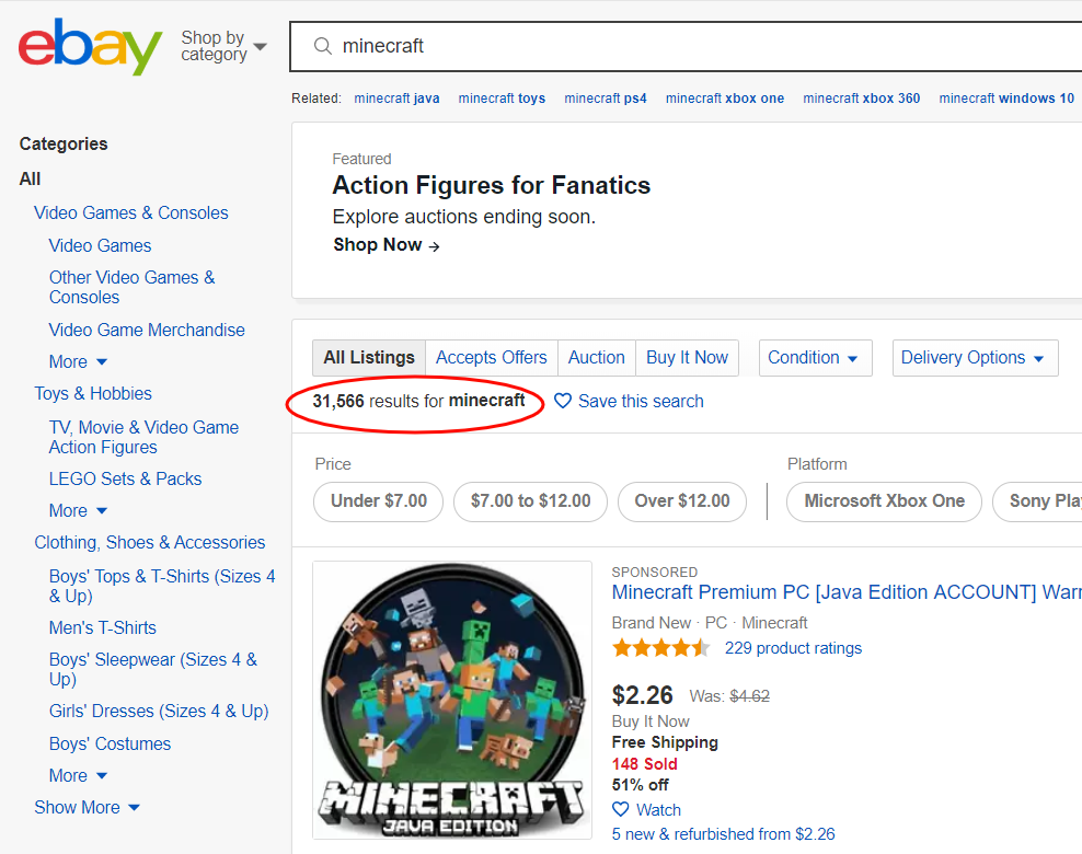 ebay search results saturated