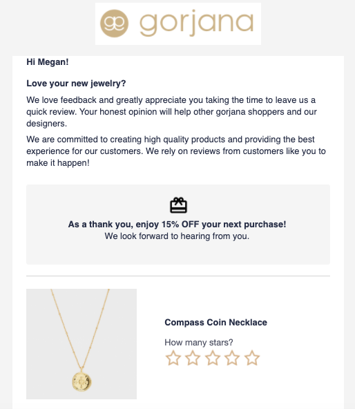 Gorjana Review Email